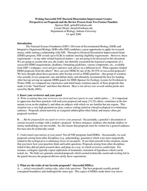 nsf format proposal nsf grant proposal sle writing successful nsf
