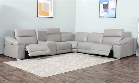 contemporary  piece power reclining sectional grey
