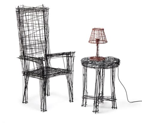 Chair Drawings by Jinil Park Materializes Drawing Furniture Series Using Wire
