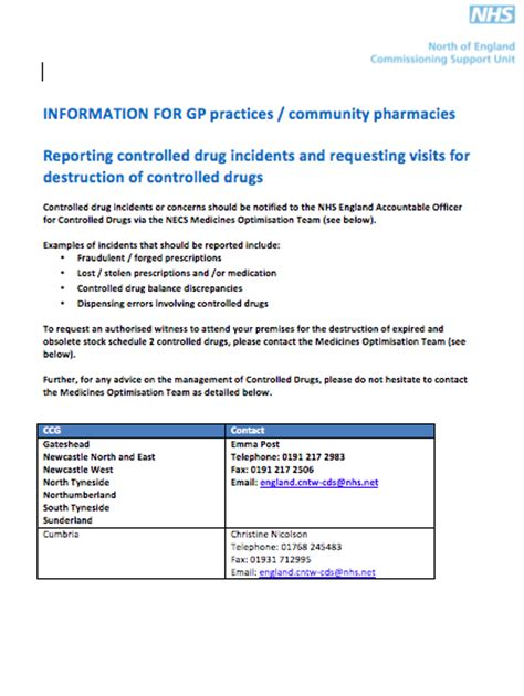 Incident Report Letter For Shortage Controlled Drugs Incidents Destructions Sunderland Lpc