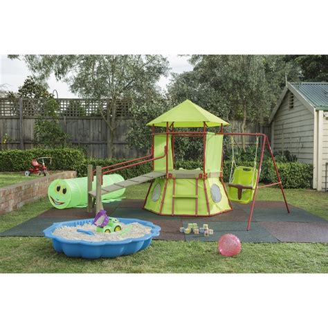 swing sets bunnings swing slide climb 1000 x 1000 x 13mm green rubber paver