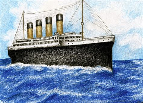 titanic boat sketch titanic at sea 1 drawing by james falciano