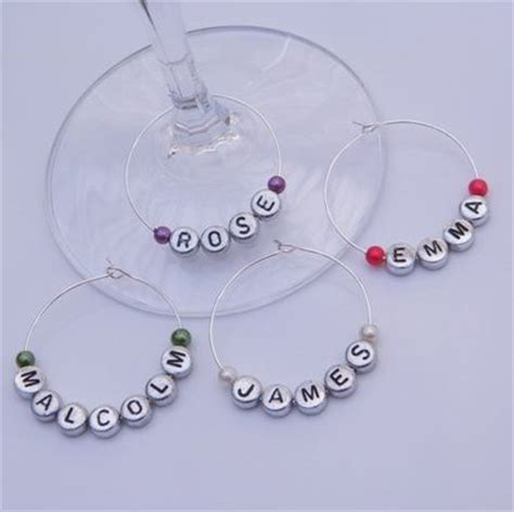 personalised name wine glass charms