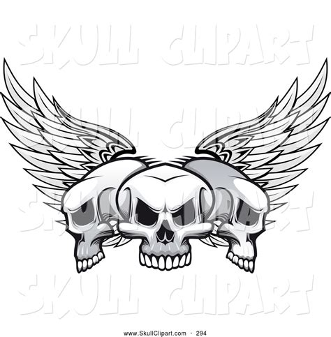 three skull tattoo designs vector clip of a design of three winged skulls
