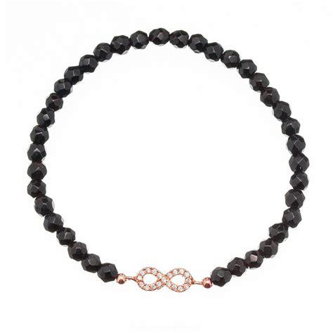 infinity beaded bracelet ingenious black beaded bracelet with gold infinity