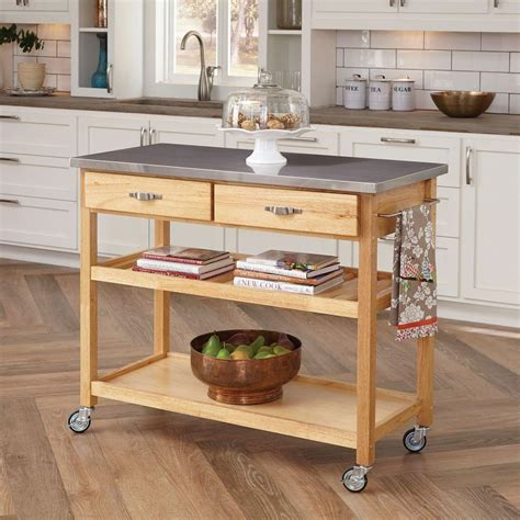 home styles kitchen cart with stainless top 5217