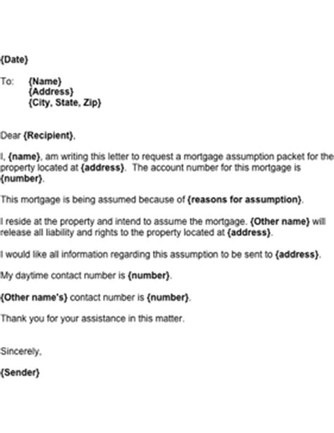 Letter For Loan Takeover Mortgage Assumption Letter Template