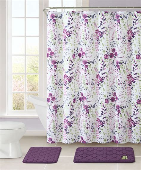 purple fabric shower curtains purple and white bathroom set 2 memory foam floor mats