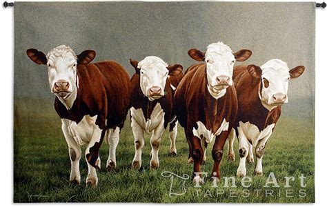 Southwest Decor Fab Four Hereford Cattle Large Wall Tapestry Amp Rod 53 X 78