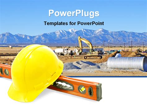 field image with construction work powerpoint template