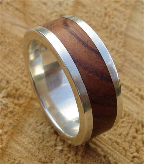 Mens Wooden Inlay Silver Wedding Ring : LOVE2HAVE in the UK!