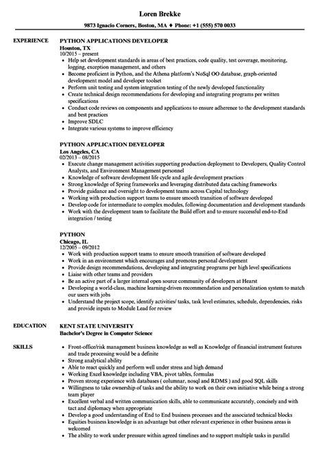 Python Resume by Python Resume Sles Velvet