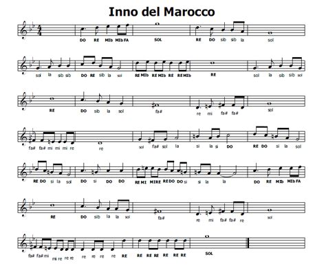 testo inno inglese musica e spartiti gratis per flauto dolce inno marocco