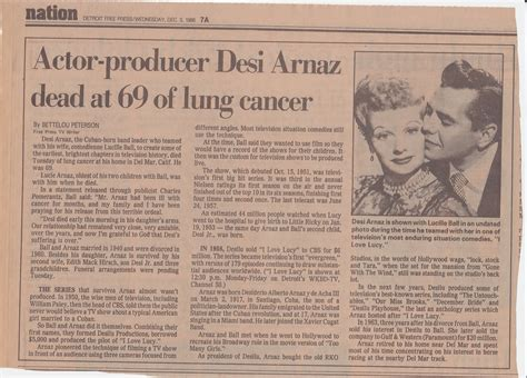 Desi Arnaz Died | lucy archives desi arnaz dies in his daughter s arms 1986