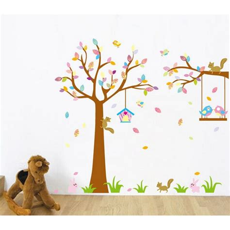 tree wall decals for nursery tree wall sticker for nursery squirrel birds wall decal