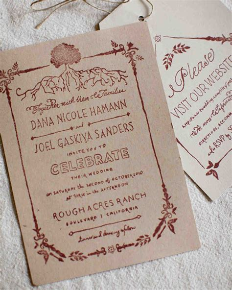 wedding invitation rubber st a rustic neutral palette outdoor destination wedding in