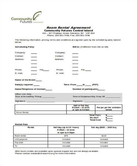 room rental agreement form word 28 images room rental