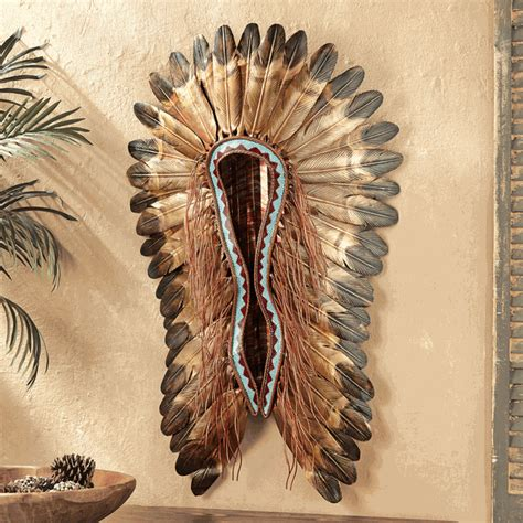 native american home decor catalogs turquoise red headdress wall hanging