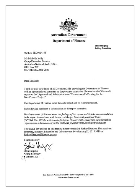Commitment Letter Due Diligence The Approval And Administration Of Commonwealth Funding