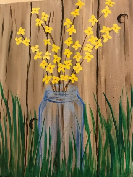 spring painting ideas artique at the purple cat vineyard forsythia in blue glass artique