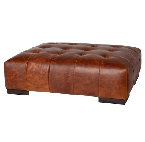 Cisco Brothers Arden Modern Classic Tufted Terracotta Leather Coffee Table Ottomans