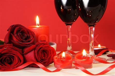 Heart Candles, Red Roses and Wine     Stock Photo