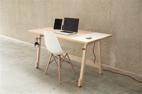 A Cool Minimalistic Desk With Built In Device Dock And White Board Desk