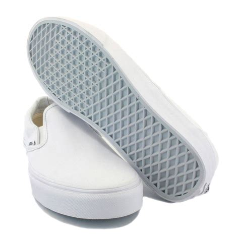 vans slip on mens canvas white white trainers new shoes