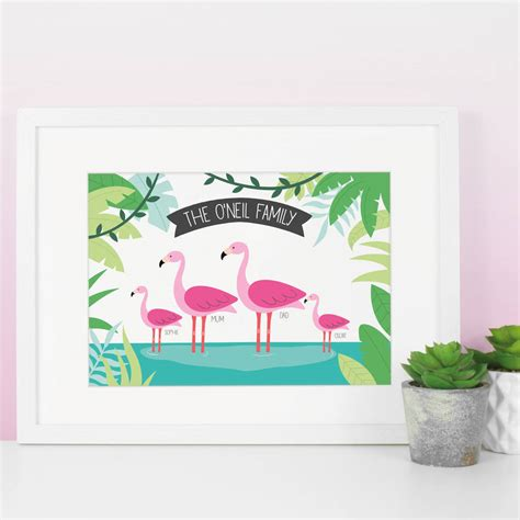 printable gift vouchers high street flamingo family tropical personalised print by paper joy