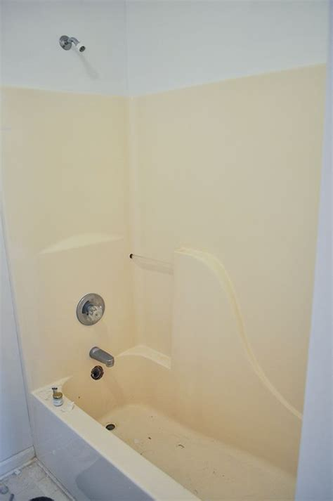how to clean an old bathtub how we painted our old yellow fiberglass bathtub to make