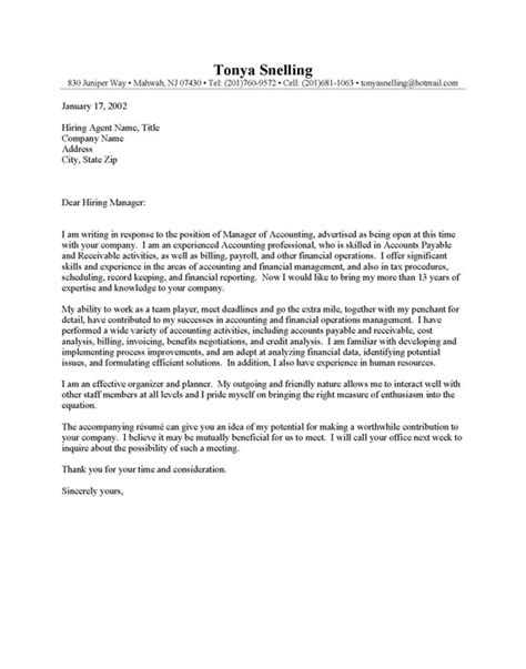 accounting cover letter exles letter of application letter of application exles for