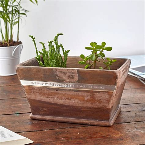 Personalised Planters by Personalised Wood Pot Planter Gettingpersonal Co Uk