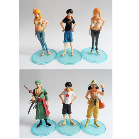 Figure Set One 6pcs Luffy Usopp Chopper Nami Franky Nico mini straw hats promotion shop for promotional mini straw