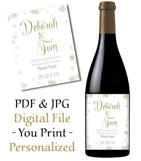 printable labels wine bottles wedding wine bottle label printable snowflake