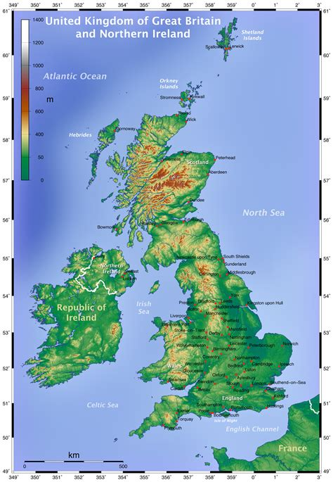 map of britain physical map of great britain great britain physical map vidiani maps of all countries