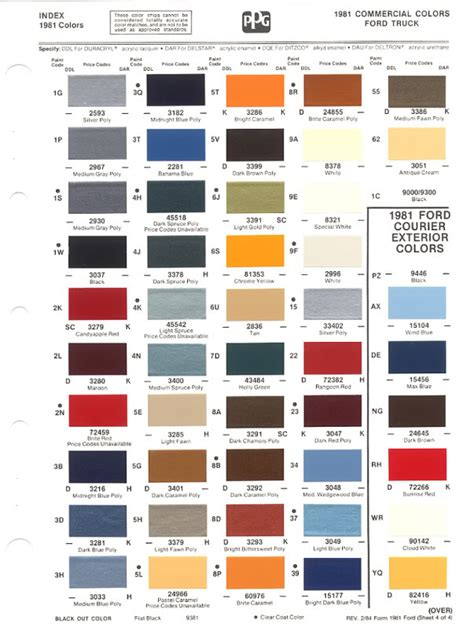 ford paint colors 1980 86 ford paint chips not 56k friendly ford truck