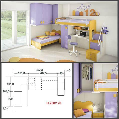 camerette per bambini con letto a cameretta per bambini colorata con due letti a soppalco