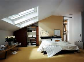 Built in wardrobe in the bedroom with sloping roof interior design