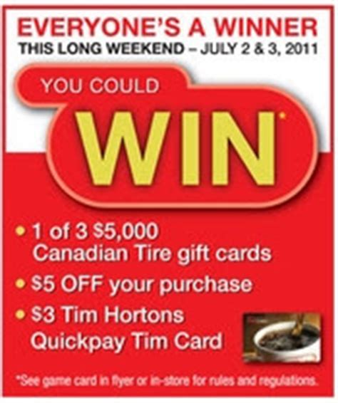 Canadian Tire E Gift Card - canadian daily deals canadian tire scratch and save cards this long weekend july 2 3