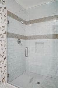 White Shower Tiles With Taupe Border Accent Tiles
