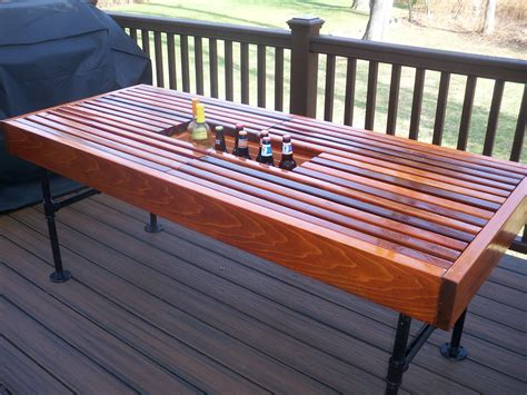 Outdoor Cooler Table by Cedar Outdoor Table With Built In Wine Cooler With