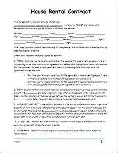 house rental contract template for word document templates