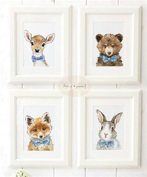 Woodland Nursery Art Woodland Animals Print Set Of 4 Woodland Animals Nursery Decor