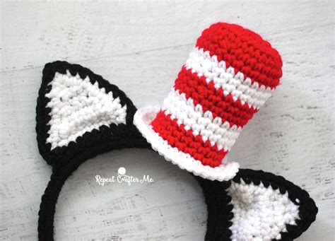 crochet pattern cat in the hat crochet cat in the hat headband repeat crafter me
