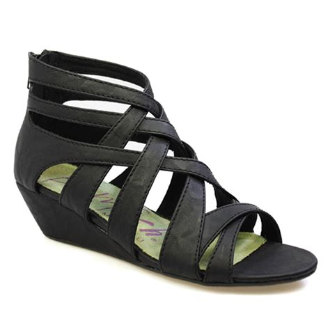 black sandals blowfish casita women black gladiator wedge strap sandals