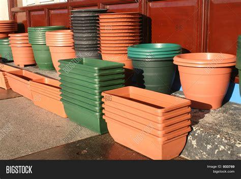 plastic flower pots holders image photo bigstock