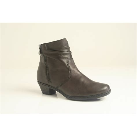 reiker boots rieker rieker brown leather ankle boot with zip trim