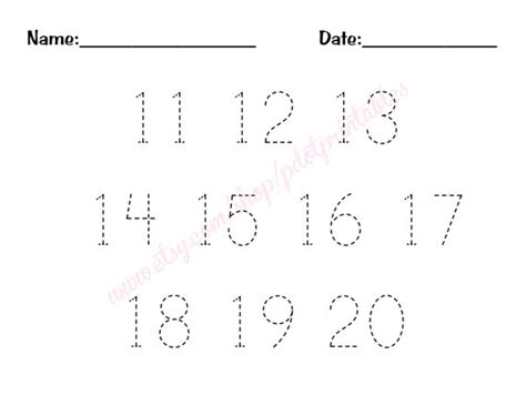 free printable math worksheets for numbers 11 20 number tracing worksheets 1 20 pdf 11 20 number trace