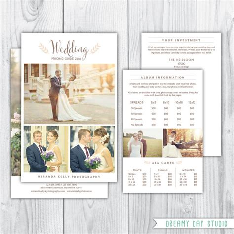 photography pricing template wedding pricing brochure