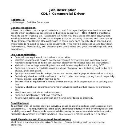 heavy and tractor trailer truck drivers job description